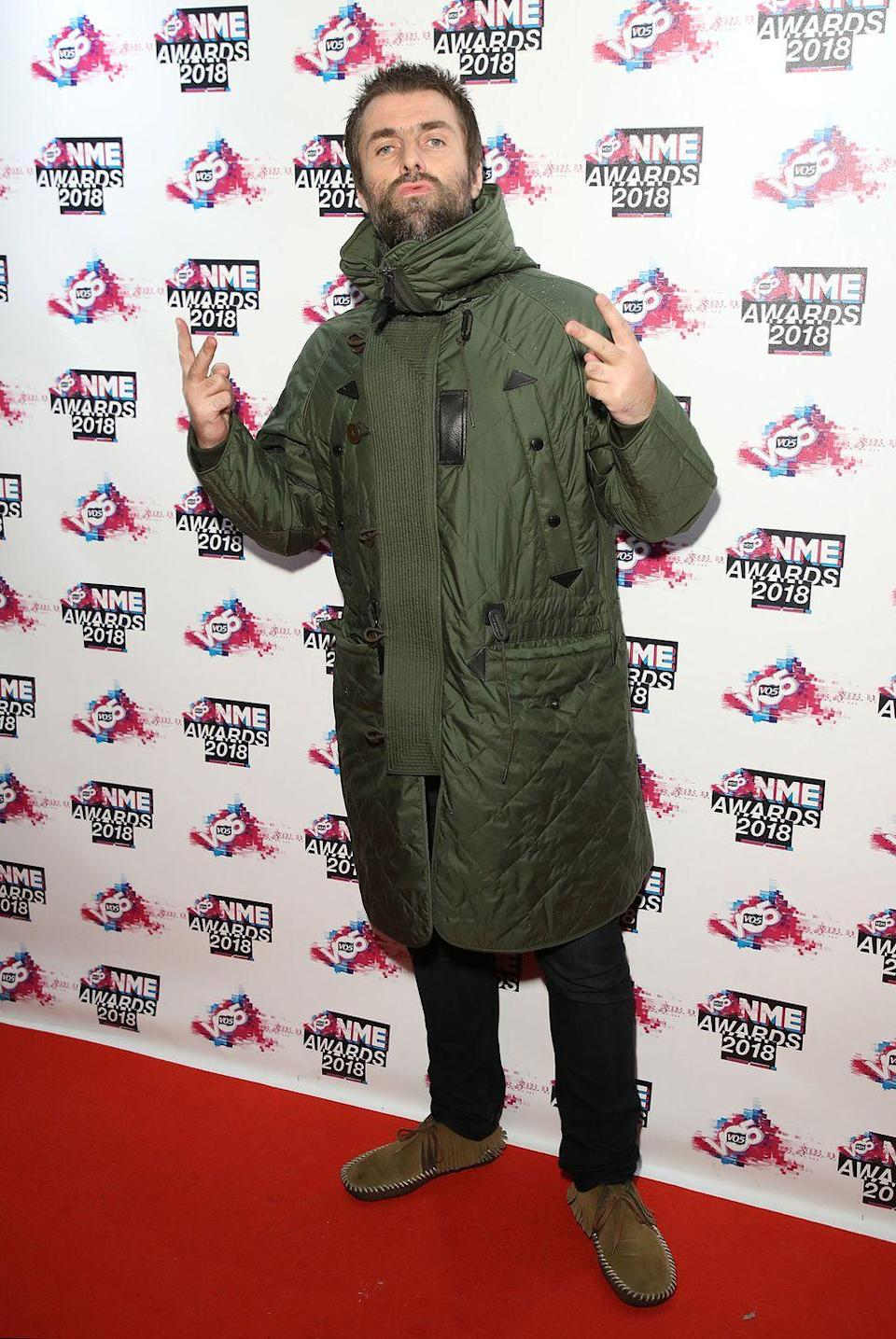 <p>Liam attends the NME Awards on February 14, 2018 in London.</p>