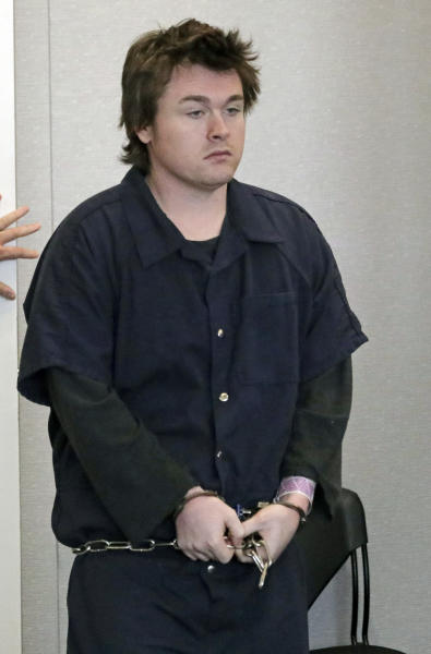 "Christopher W. Cleary, makes a court appearance during his sentencing Thursday, May 23, 2019, in Provo, Utah. Cleary, a man who posted a Facebook message threatening to kill ""as many girls as I see"" in retaliation for years of romantic rejection was sentenced to up to five years in prison in Utah. (AP Photo/Rick Bowmer, Pool)"
