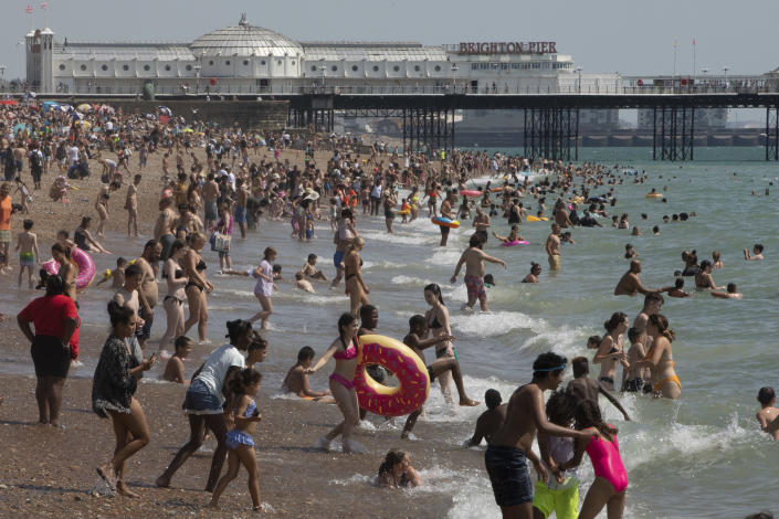 Hot weather can put people at risk of sunburn and heatstroke. (Getty)