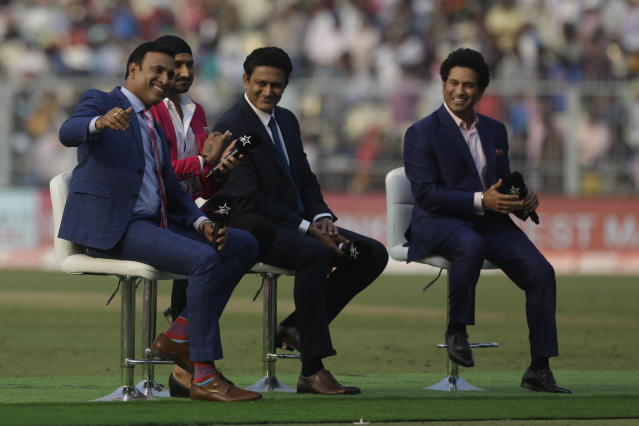 From right, India's former cricket players Sachin Tendulkar, Anil Kumble, Harbhajan Singh and V. V. S. Laxman join in a talk show during a break on the first day of the second test match between India and Bangladesh, in Kolkata, India, Friday, Nov. 22, 2019. (AP Photo/Bikas Das)