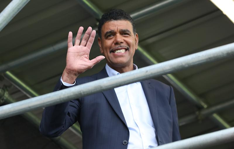 LONDON, ENGLAND - AUGUST 10: Chris Kamara waves during the Sky Bet Championship match between Fulham and Blackburn Rovers at Craven Cottage on August 10, 2019 in London, England. (Photo by Rachel Holborn - BRFC/Getty Images)