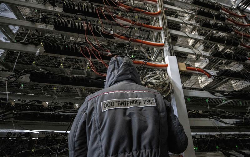 FILE PHOTO: A view shows the data centre of BitRiver company providing services for cryptocurrency mining in Bratsk