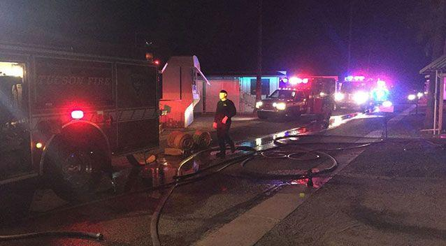 Fire crews arrived at the mobile home 9.30pm Sunday where the blaze caused serious damage. Picture: Tucson Fire Department