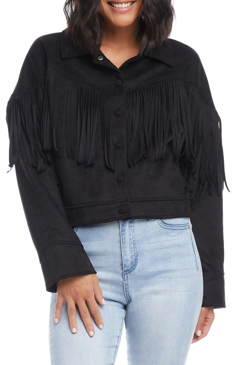 <p>This vintage-inspired <span>Karen Kane Faux Suede Fringe Jacket</span> ($199) will go with everything.</p>