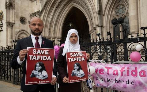 Shelina Begum and husband Mohammed Raqeeb at the Royal Courts of Justice in London earlier this month - Credit: David Mirzoeff/PA