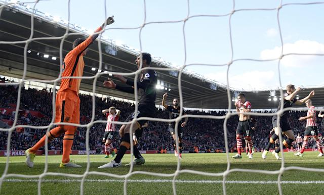 <p>Hull City's Eldin Jakupovic celebrates saving a penalty from Southampton's Dusan Tadic </p>