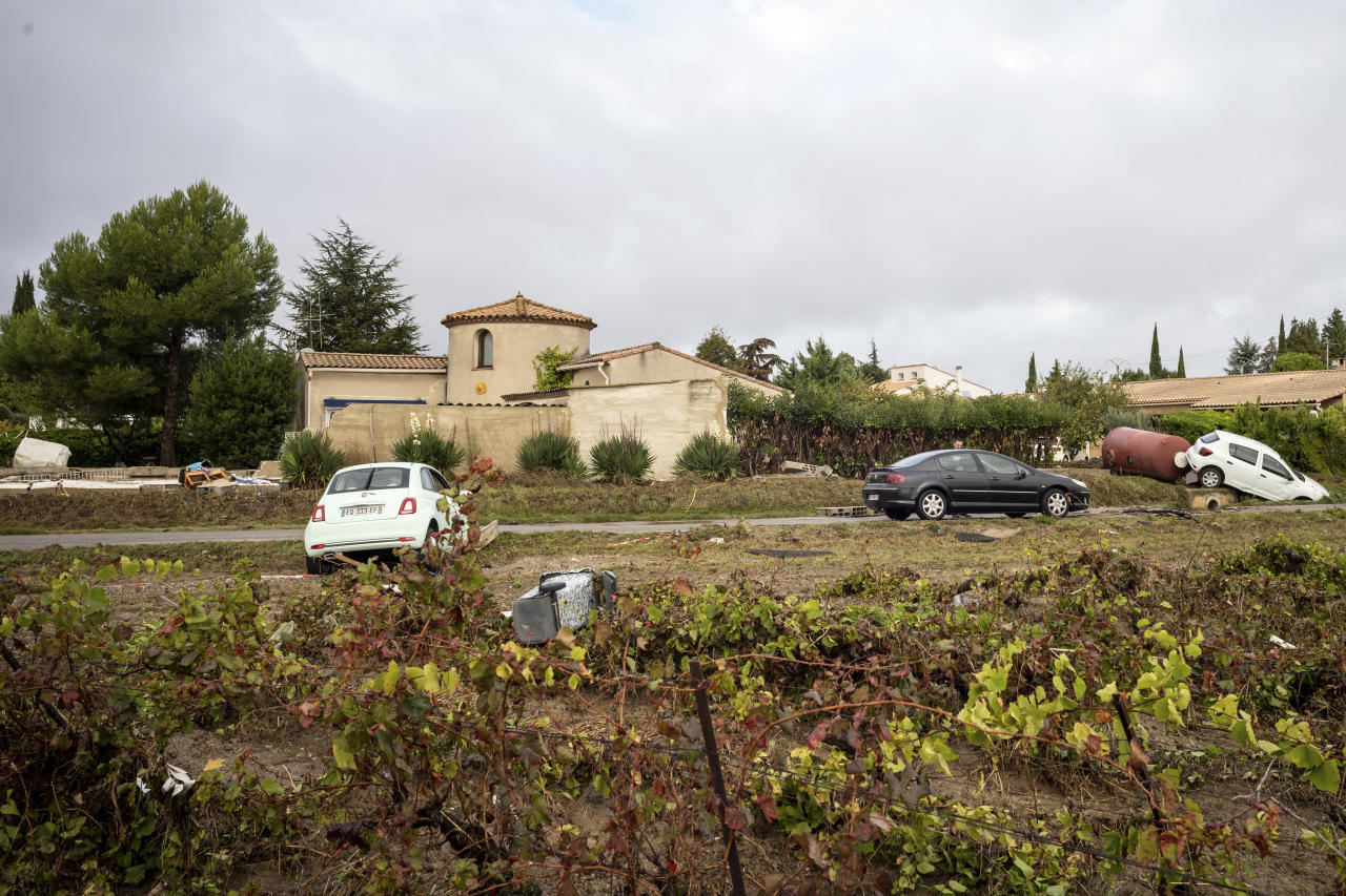 <p>Cars are pictured in a vineyard in the town of Villegailhenc, southern France, Monday, Oct.15, 2018. (Photo: Fred Lancelot/AP) </p>