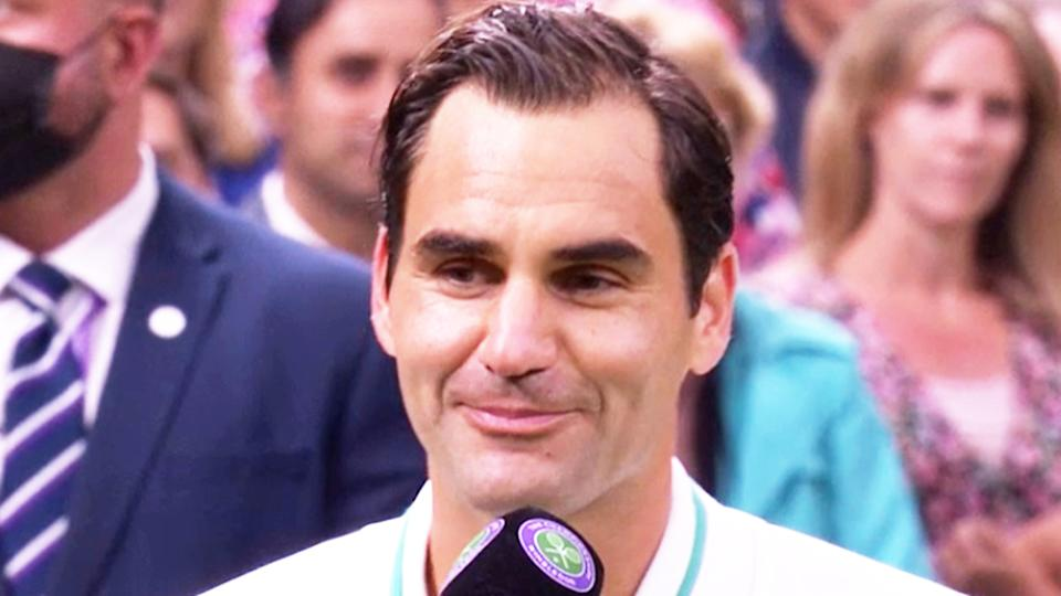 Roger Federer (pictured) making a joke during his post-match interview at Wimbledon.