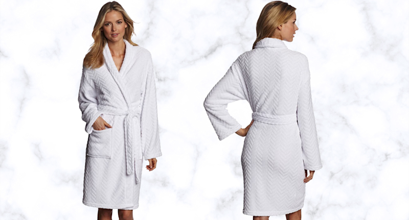 Hotel Spa Collection Herringbone Textured Plush Robe.