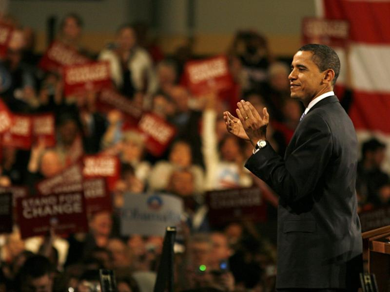 Democratic presidential hopeful Sen. Barack Obama, D-Ill., applaudes the crowd at an after caucus rally at the Hy Vee Center after winning the Iowa democratic presidential caucus Thursday Jan. 3, 2008 in Des Moines, Iowa.
