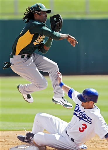 Oakland Athletics second baseman Jemile Weeks avoids Los Angeles Dodgers' Adam Kennedy (3) after a force out at second base in the second inning of a spring training baseball game, Thursday, March 8, 2012, in Glendale, Ariz. (AP Photo/Mark Duncan)
