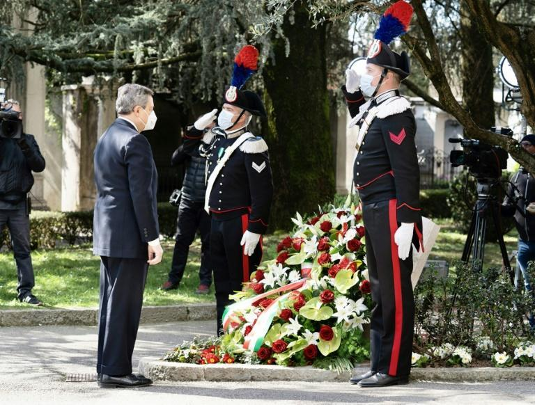 Italy's Prime Minister Mario Draghi laid a wreath at the ceremony