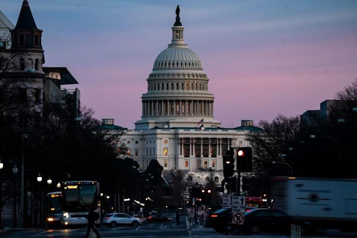 WASHINGTON, DC - FEBRUARY 08: The sunsets over the U.S. Capitol Building on Monday, Feb. 8, 2021 in Washington, DC. The Senate is scheduled to begin the second impeachment trial of former President Donald Trump on Feb. 9. (Kent Nishimura / Los Angeles Times)