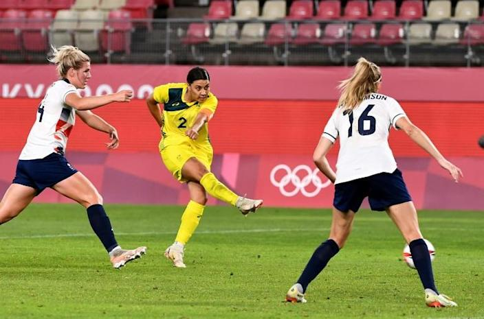 Australia's Sam Kerr (C) equalised late to send the quarter-final against Team GB to extra time