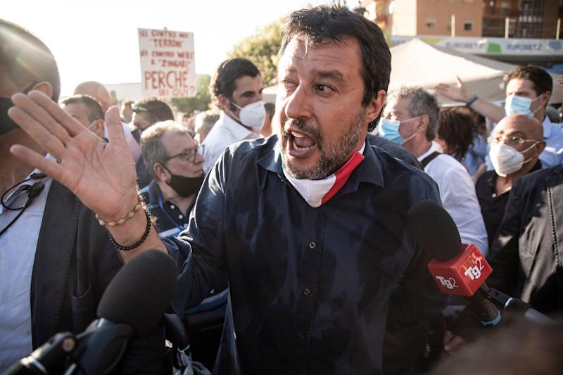 MONDRAGONE, ITALY - JUNE 29: Matteo Salvini leader of Lega party interviewed by journalists on June 29, 2020 in Mondragone, Italy. Matteo Salvini visited the red zone Palazzi Ex Cirio where a new Covid-19 hotbed has been discovered. (Photo by Ivan Romano/Getty Images) (Photo: Ivan Romano via Getty Images)