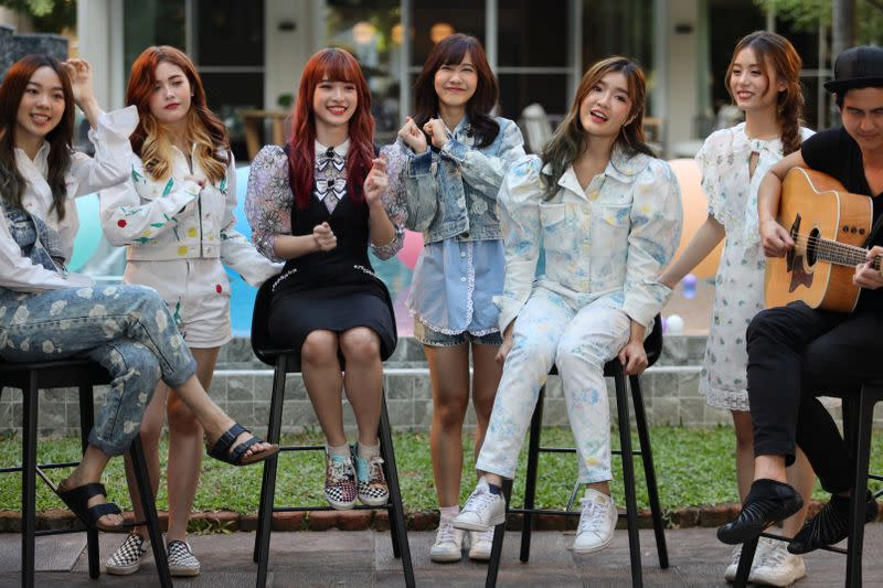 Members of Thai female band Lyra are seen while recording a music video in Bangkok, Thailand