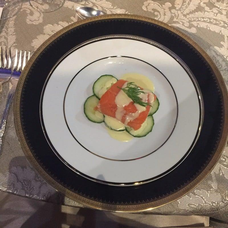 <p>Poached salmon with mousseline sauce and cucumbers</p>