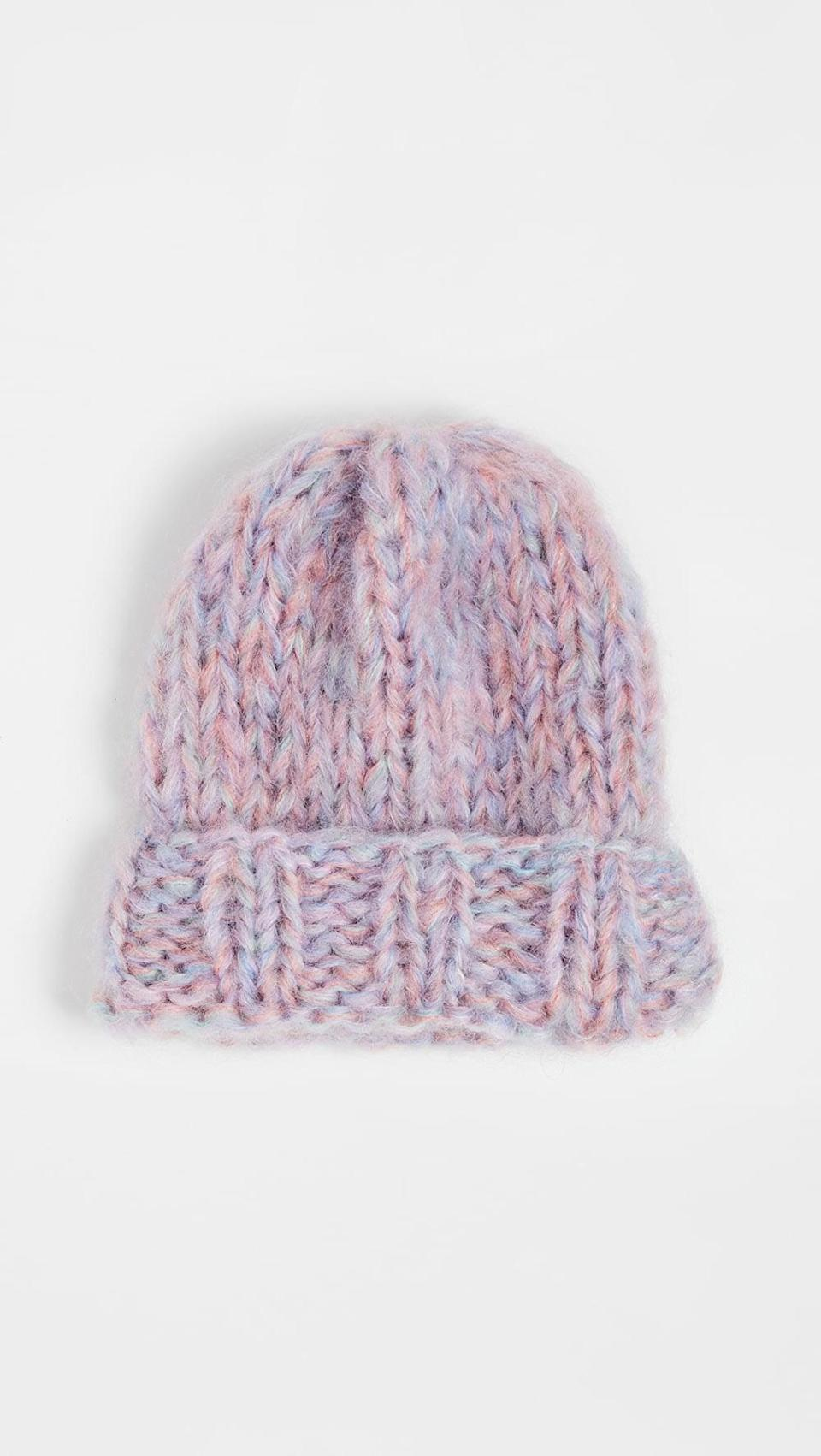 <p>We love the shades of this <span>Rose Carmine Knit Hat</span> ($132).</p>