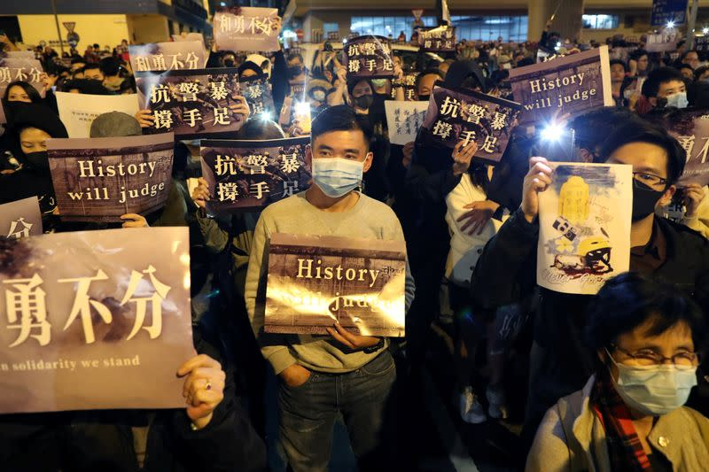 Hong Kong protesters attend a rally in Hong Kong