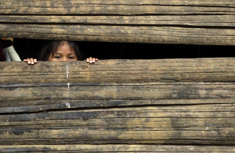 FILE - In this May 27, 2012 file photo, a girl looks through a wooden wall of her home in Embera Puru indigenous community on the outskirts of Panama City. A poll released Wednesday of nearly 150,000 people around the world says seven of the world's 10 countries with the most upbeat attitudes are in Latin America. Gallup Inc. asked about 1,000 people in each of 148 countries last year if they were well-rested, had been treated with respect, smiled or laughed a lot, learned or did something interesting and felt feelings of enjoyment. In Panama and Paraguay, 85 percent of those polled said yes to all five, putting those countries at the top of the list. (AP Photo/Arnulfo Franco, File)