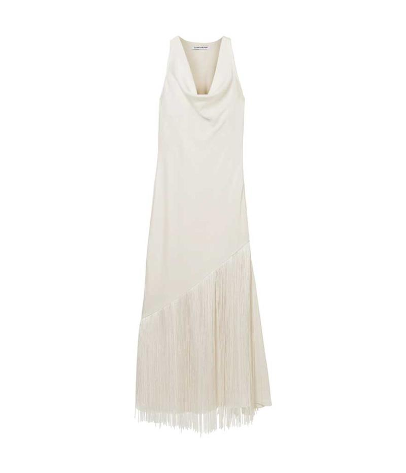 White cowl neck fringe dress.