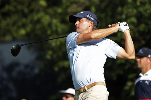 Brandon Stone, of South Africa, tees off on the 18th hole during the first round of the PGA Championship golf tournament at Bellerive Country Club, Thursday, Aug. 9, 2018, in St. Louis. (AP Photo/Jeff Roberson)