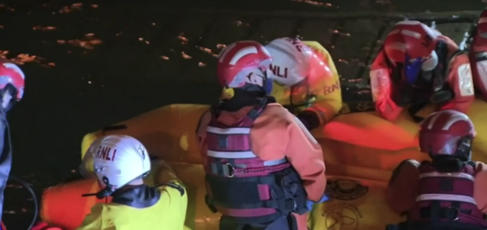 Crews work into the night to free the whale. Source: ABC
