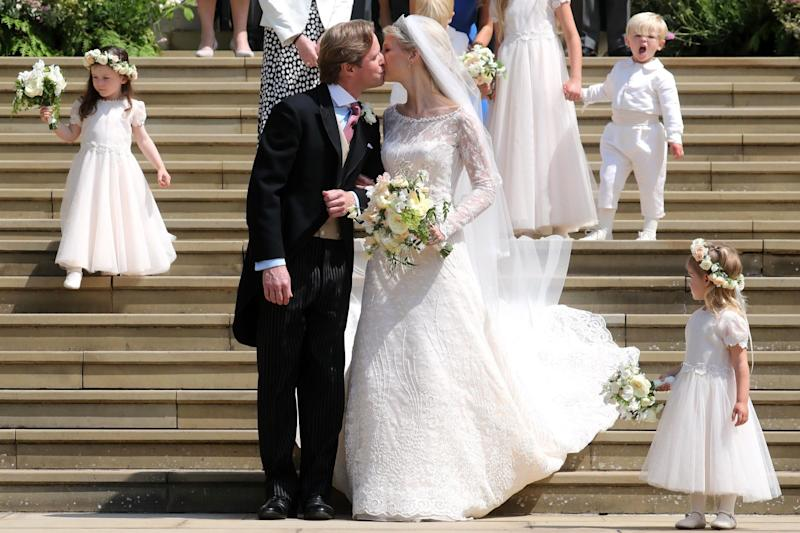 Newlyweds Thomas Kingston and Lady Gabriella Windsor (AFP/Getty Images)