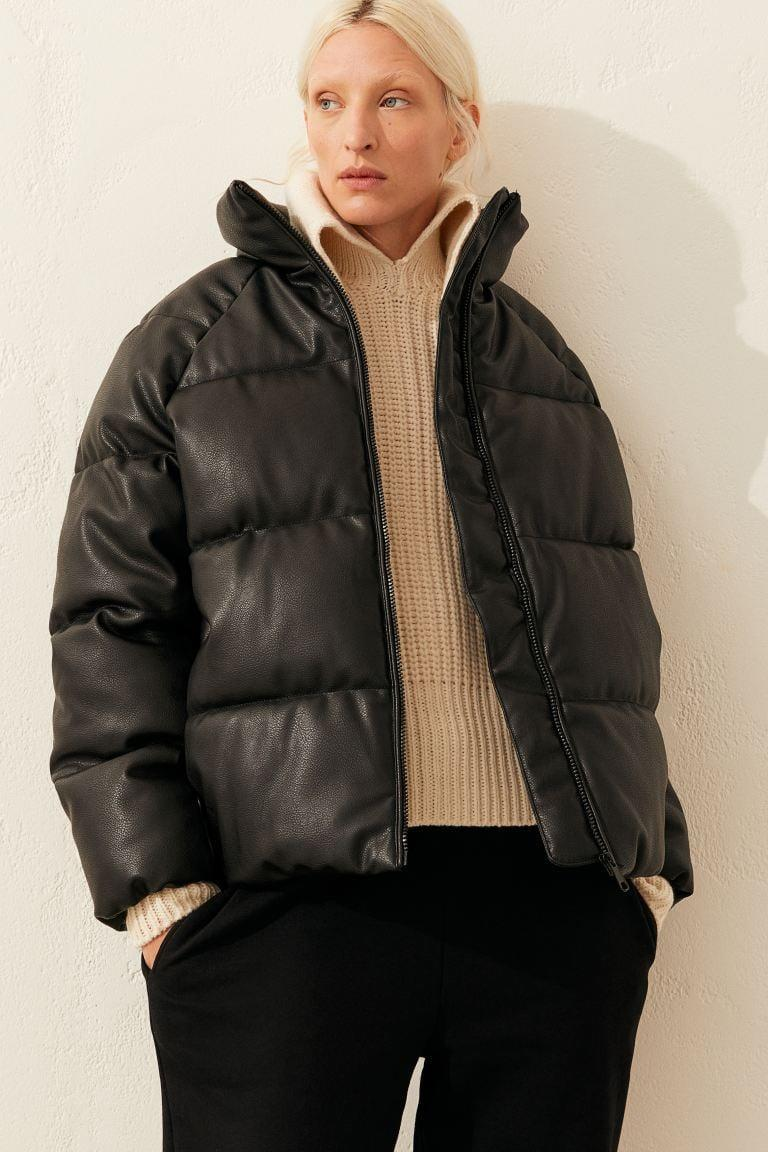 <p>Stay warm with this edgy, cool <span>H&M Faux Leather Puffer Jacket</span> ($80).</p>