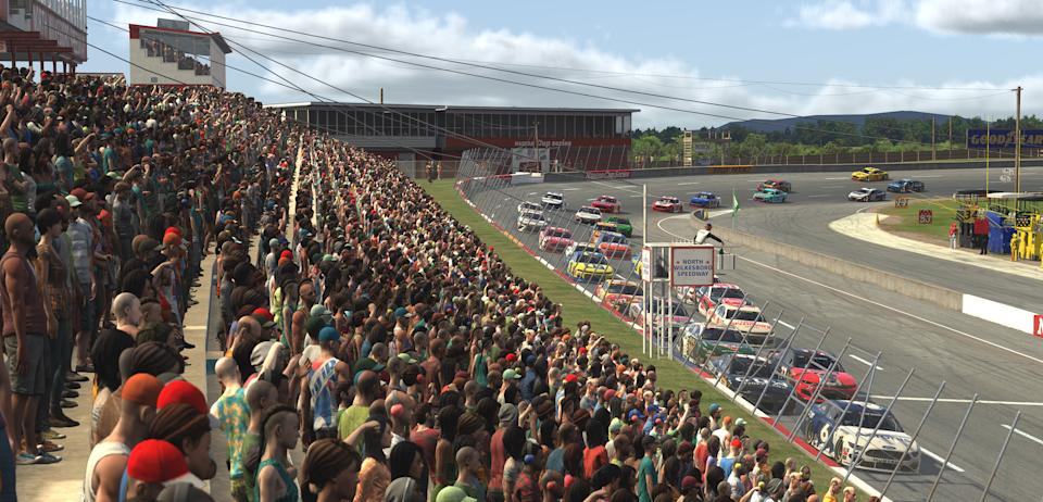 NORTH WILKESBORO, NORTH CAROLINA - MAY 09: (EDITORIAL USE ONLY) (Editors note: This image was computer generated in-game)  A general view as cars race during the eNASCAR iRacing Pro Invitational Series North Wilkesboro 160 at virtual North Wilkesboro Speedway on May 09, 2020 in North Wilkesboro, North Carolina. (Photo by Chris Graythen/Getty Images)