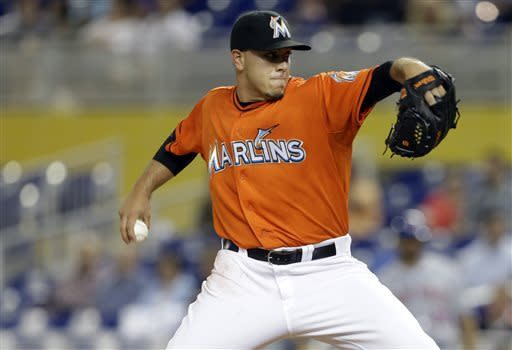 Miami Marlins starting pitcher Jose Fernandez throws in the first inning during a baseball game against the New York Mets, Monday, April, 29, 2013 in Miami. (AP Photo/Lynne Sladky)