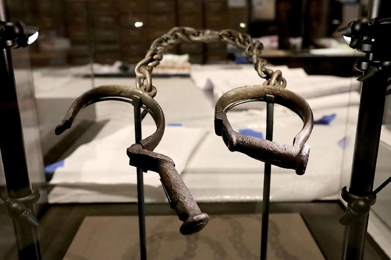 A pair of slave shackles on display in the Smithsonian's National Museum of African American History and Culture