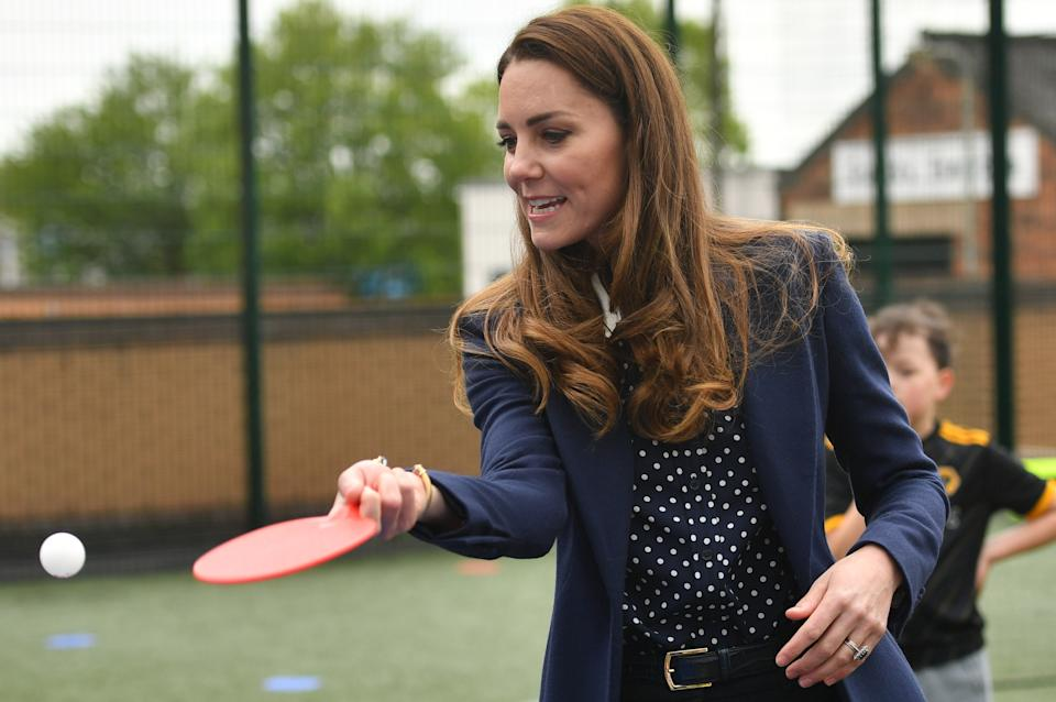 The Duchess of Cambridge playing table tennis during a visit to The Way Youth Zone in Wolverhampton, West Midlands. Picture date: Thursday May 13, 2021.
