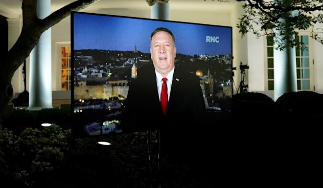 US Secretary of State Mike Pompeo, shown in a pre-recorded address from Israel Tuesday night to the 2020 Republican National Convention. Photo: Reuters