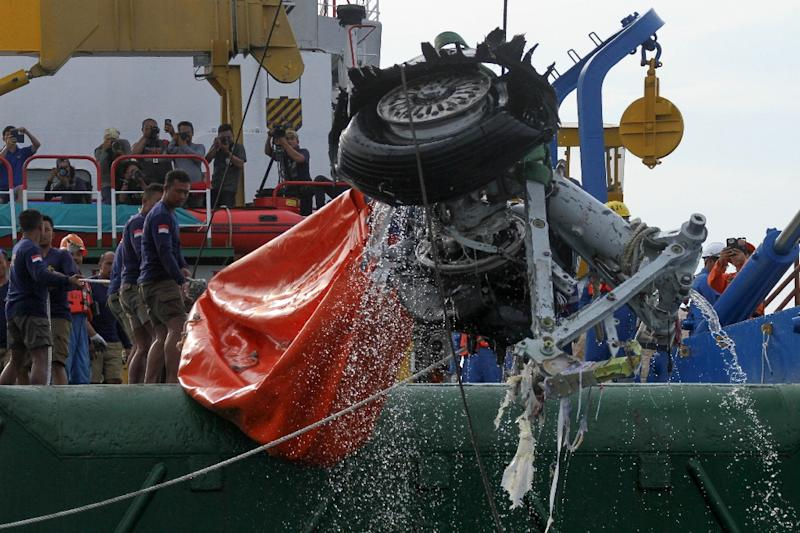 An Indonesian rescue team lift a pair tires from the ill-fated Lion Air flight JT 610 off Karawang in the Java Sea on November 4, 2018 (AFP Photo/AZWAR IPANK)