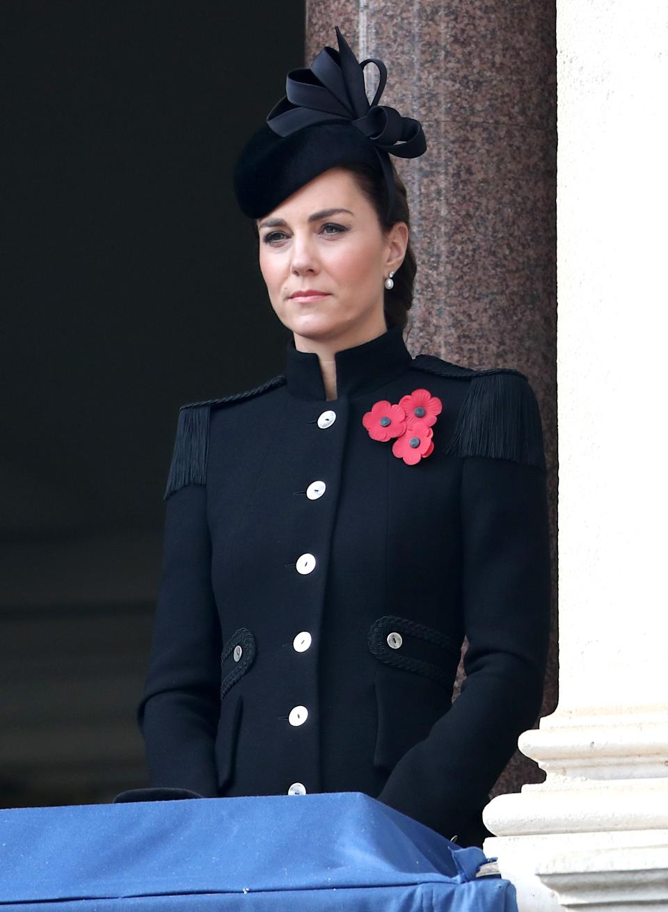 LONDON, ENGLAND - NOVEMBER 08: Catherine, Duchess of Cambridge during the National Service of Remembrance at The Cenotaph on November 08, 2020 in London, England. Remembrance Sunday services are still able to go ahead despite the covid-19 measures in place across the various nations of the UK. Each country has issued guidelines to ensure the safety of those taking part. (Photo by Chris Jackson - WPA Pool/Getty Images)