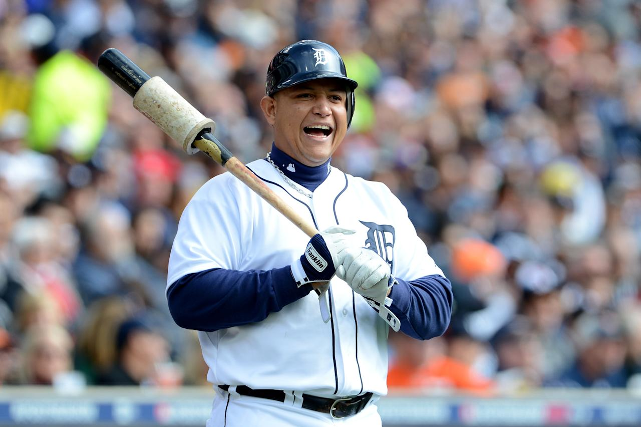 DETROIT, MI - OCTOBER 07:  Miguel Cabrera #24 of the Detroit Tigers looks on against the Oakland Athletics during Game Two of the American League Division Series at Comerica Park on October 7, 2012 in Detroit, Michigan.  (Photo by Jason Miller/Getty Images)