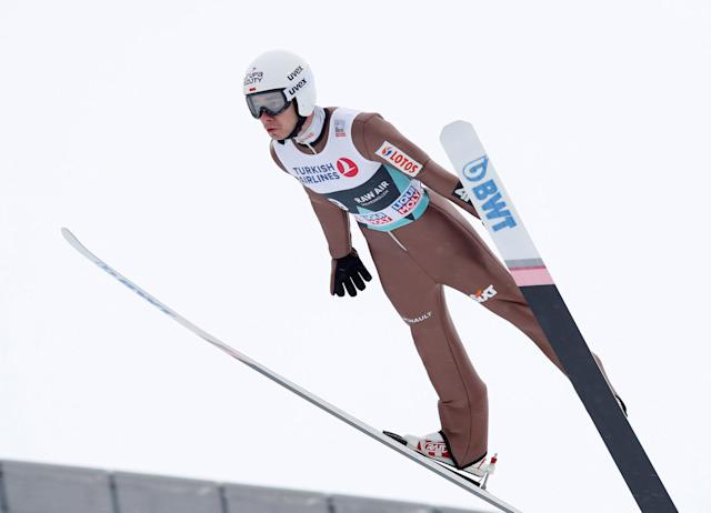 FIS Ski Jumping World Cup - Men's HS134 - Oslo, Norway - March 11, 2018. Jakob Wolny of Poland competes. NTB Scanpix/Terje Bendiksby via REUTERS ATTENTION EDITORS - THIS IMAGE WAS PROVIDED BY A THIRD PARTY. NORWAY OUT. NO COMMERCIAL OR EDITORIAL SALES IN NORWAY.