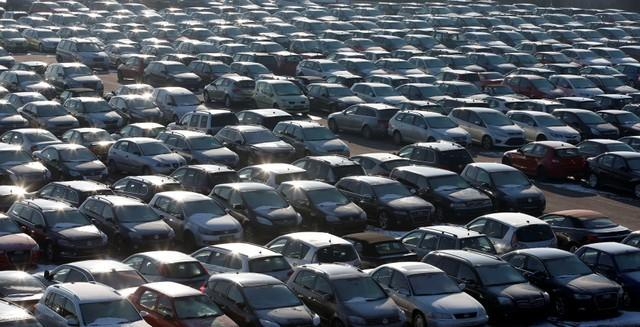 Second hand cars are pictured at the Auto1.com company grounds in Zoerbig