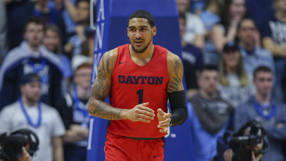 Dayton's Obi Toppin (1) during the first half of an NCAA college basketball game