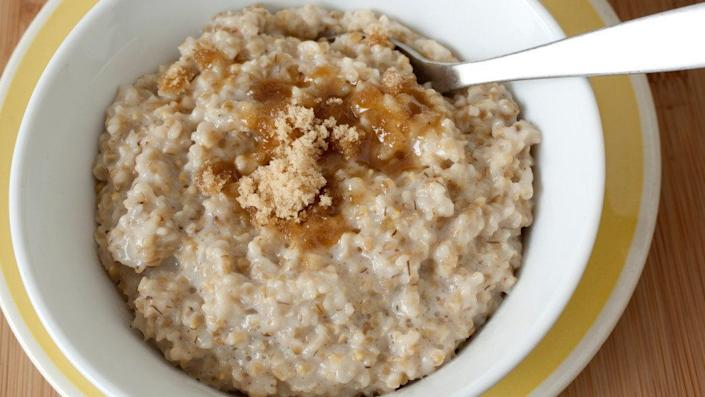 """1 pack of <a href=""""http://www.quakeroats.com/products/hot-cereals/instant-oatmeal/maple-and-brown-sugar.aspx"""" target=""""_blank"""">maple and brown sugar instant oatmeal</a>: 12 grams <br /><br />You've heard that instant oatmeal can be high in sugar (and with """"brown sugar"""" in the name, you know that there's at least some sweet stuff in there), but this breakfast has the same amount of sugar you'd get from <a href=""""https://ndb.nal.usda.gov/ndb/foods/show/5667?manu=&fgcd="""" target=""""_blank"""">half of a bakery-bought brownie</a>. Food for thought."""