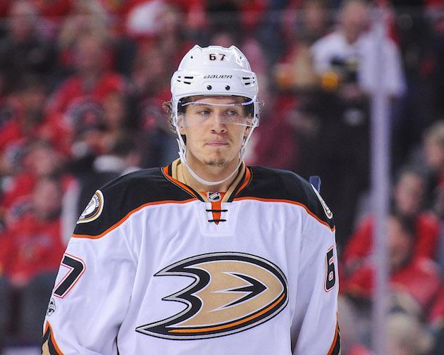 "CALGARY, AB – APRIL 19: <a class=""link rapid-noclick-resp"" href=""/nhl/players/5391/"" data-ylk=""slk:Rickard Rakell"">Rickard Rakell</a> #67 of the Anaheim Ducks in action against the <a class=""link rapid-noclick-resp"" href=""/nhl/teams/cgy/"" data-ylk=""slk:Calgary Flames"">Calgary Flames</a> in Game Four of the Western Conference First Round during the 2017 NHL Stanley Cup Playoffs at Scotiabank Saddledome on April 19, 2017 in Calgary, Alberta, Canada. (Photo by Derek Leung/Getty Images)"