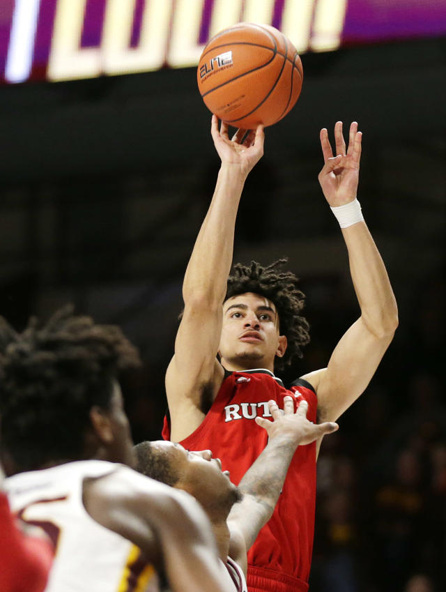 Rutgers guard Geo Baker (0) shoots against Minnesota during the second half of an NCAA college basketball game Saturday, Jan. 12, 2019, in Minneapolis. Minnesota defeated Rutgers 88-70. (AP Photo/Andy Clayton-King)