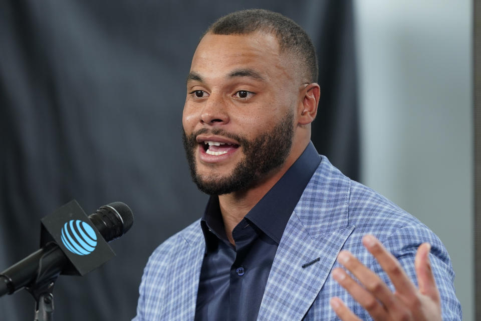 Dallas Cowboys quarterback Dak Prescott is working back from a bad injury. (AP Photo/LM Otero)