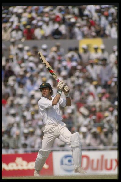 Nov 1989:  Imran Khan of Pakistan in action during the Nehru Cup match against India in Calcutta.                                       Mandatory Credit:Adrian Murrell /Allsport UK