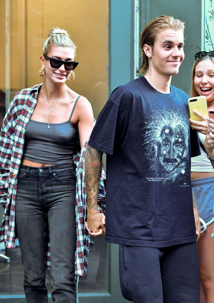 <p>Hailey was pictured accompanying her beau to a hair salon in New York City.</p>