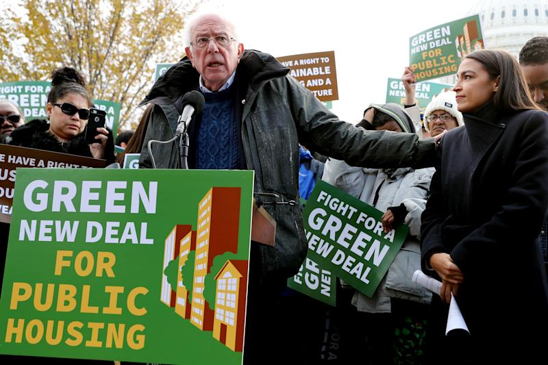 Sen. Bernie Sanders (I-Vt.), left, and Rep. Alexandria Ocasio-Cortez (D-N.Y.), who have both endorsed Jessica Cisneros, want to make Congress more receptive to their agenda. (Photo: Chip Somodevilla/Getty Images)