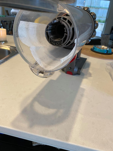 Dyson with a dryer sheet to catch dirt