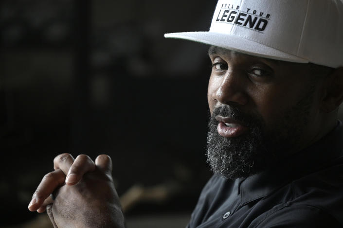 Former NFL football player Charles Woodson reflects on his life and career as he prepares for induction into the NFL Hall of Fame, during an interview at his home Tuesday, June 15, 2021, in Orlando, Fla. (AP Photo/Phelan M. Ebenhack)