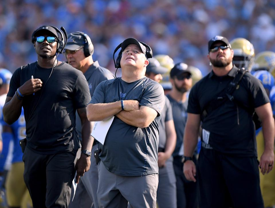 UCLA coach Chip Kelly reacts to a Cincinnati touchdown on Sept. 1, 2018, at the Rose Bowl.